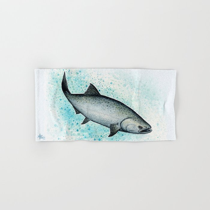 """Salmon Splash"" by Amber Marine ~ Watercolor Painting (Copyright 2016) Hand & Bath Towel"