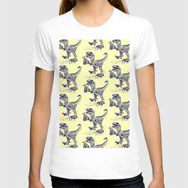 Tipsy Velociraptor with Beer Pattern T-shirt