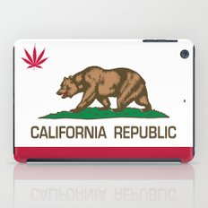 California Republic state flag with red Cannabis leaf iPad Case
