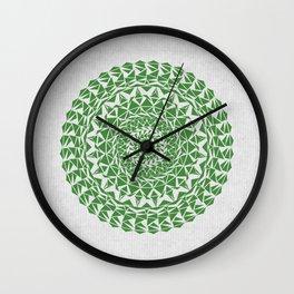 Mandala Green on Japanese Rice Paper Wall Clock