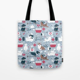Veterinary medicine, happy and healthy friends // pastel blue background Tote Bag