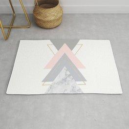 Blush Marble Gray Gold Geometric Pattern Rug