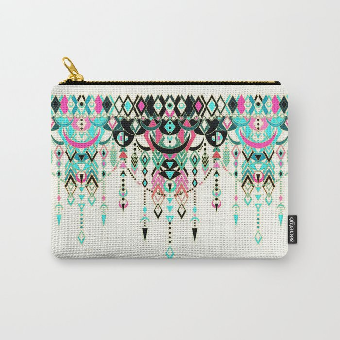 Modern Deco in Pink and Turquoise Carry-All Pouch