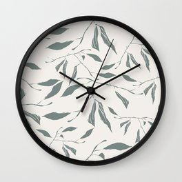 Branches and leaves in offwhite Wall Clock