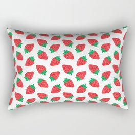 Cream Strawberries Pattern Rectangular Pillow