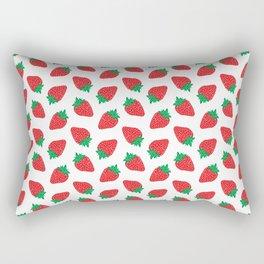 Cream Strawberries Pattern Rectangular Pillow