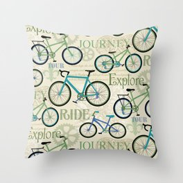Bicycle Journey Blue Throw Pillow