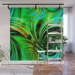 Curls Deluxe Green Wall Mural