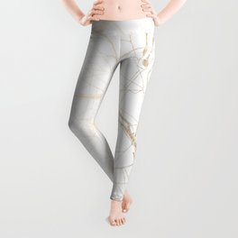 Paris Gold and White Street Map Leggings