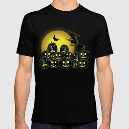 Pumpkins and witch in front of a full moon T-shirt