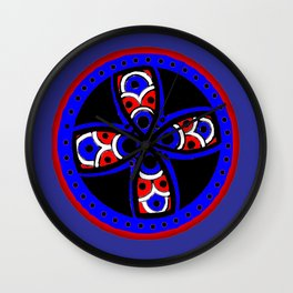Blue and red tribal Wall Clock