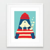 cartoon Framed Art Prints featuring The Walrus by Monster Riot
