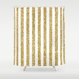 golden white  stripes Shower Curtain