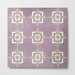 Musk Mauve and Taupe Mosaic Pattern Metal Print