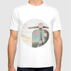 The Blue Vespa White Mens Fitted Tee MEDIUM