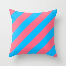 Stripes Diagonal Pink & Blue Throw Pillow