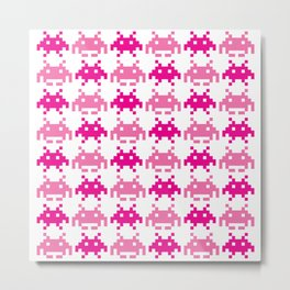 Pink Invaders Metal Print