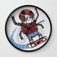 mcfly Wall Clocks featuring Marty McFLY by Timo Ambo