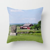 battlefield Throw Pillows featuring Barn on the Battlefield by Scenic Sights by Tara