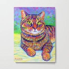 Colorful Brown Tabby Cat Metal Print