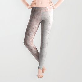 Blush Pink Sparkles on White and Gray Marble Leggings