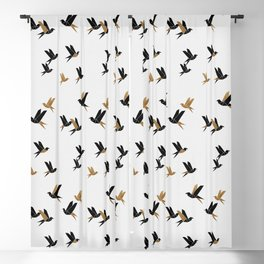Origami Birds Collage I, Gold and Black Blackout Curtain
