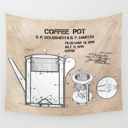 Coffee pot Goldsmith Martyn patent art 1899 Wall Tapestry