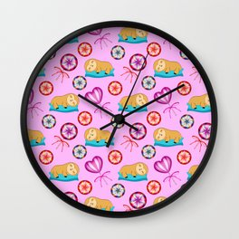 Lazy baby sloths, sweet vintage retro lollipops candy. Cute pink nursery pattern design Wall Clock