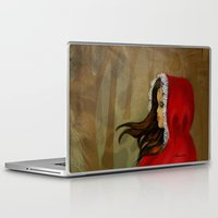 red hood Laptop & iPad Skins featuring Red Riding Hood by Alannah Brid