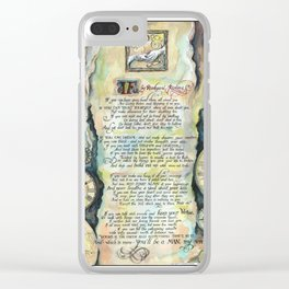 """Calligraphy of the poem """"IF"""" by Rudyard Kipling Clear iPhone Case"""