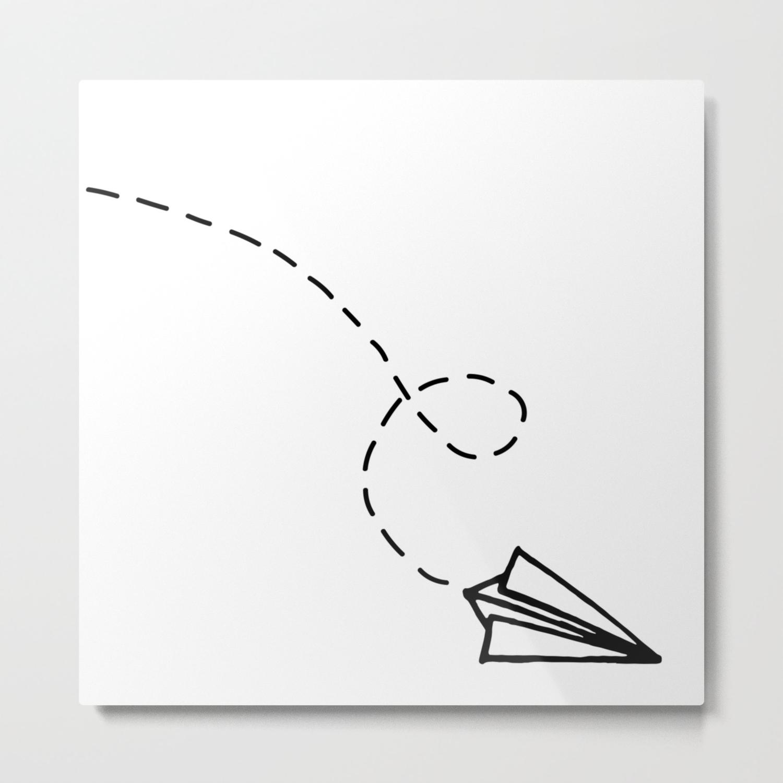 Send It Simple Paper Airplane Drawing Metal Print By