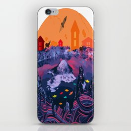 Houses, mountains and fishes iPhone Skin