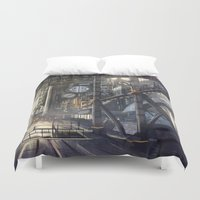 industrial Duvet Covers featuring Industrial District by Nigel Goh