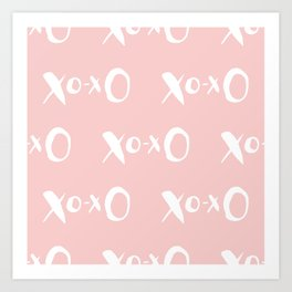 Kisses XOXO Millennial Pink on White Art Print