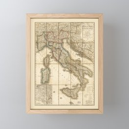 Map of Italy (1851) Framed Mini Art Print