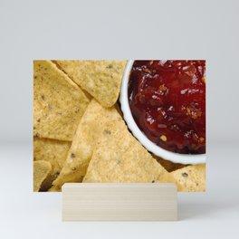 Nachos and Chilli Dip Overhead Mini Art Print