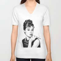 hepburn V-neck T-shirts featuring Audrey Hepburn Pencil drawing by Thubakabra