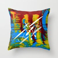 airplane Throw Pillows featuring Airplane by Lue Brentwood