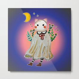 Hand Painted Cat Lady Ghost Metal Print