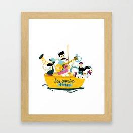 brassens musician music guitare boat sea friends trumpet accordion notes ocean french fun Framed Art Print