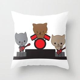 Kitty Cat Kawaii Band usic Throw Pillow