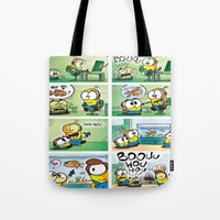 minion Tote Bags featuring Minion by Duitk