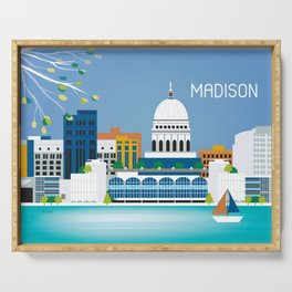 Madison, Wisconsin - Skyline Illustration by Loose Petals Serving Tray