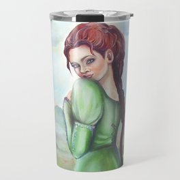 Bernadette and a fawn, oil paintinting on canvas Travel Mug
