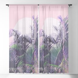 Jungle Sunrise - Ultra violet, green, pink and purple Sheer Curtain