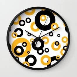 Rings in orange and black II Wall Clock