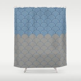 Geometric Circle Shapes Beachy Fish Scale Pattern in Blue and Gray Shower Curtain