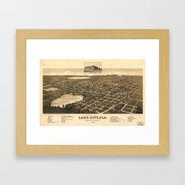 Vintage Pictorial Map of Lake City Florida (1885) Framed Art Print
