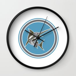 Blue Marlin Fish Jumping Circle Retro Wall Clock