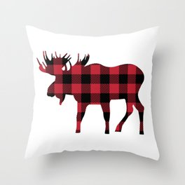 Moose Silhouette in Buffalo Plaid Throw Pillow